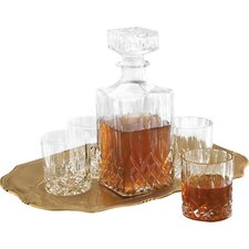 Denmark Fitz and Floyd 6 Piece Decanter, Tray and Glass Whiskey Set