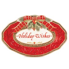 Damask Holiday Sentiment Oval Serving Tray (Set of 2)