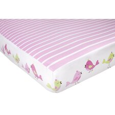 Audrey Birds and Stripe Fitted Crib Sheet