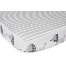 Julian Dog and Stripe Fitted Crib Sheet