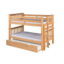 Santa Fe Mission Twin Over Twin Low Bunk Bed with Twin Size Under Bed Trundle