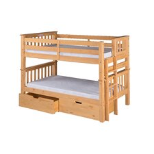 Santa Fe Mission Twin Over Twin Low Bunk Bed with Under Bed Drawers