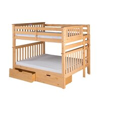 Santa Fe Mission Tall Bunk Bed with Bed End Ladder and Under Bed Drawers