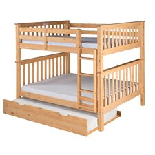 Santa Fe Mission Tall Bunk Bed with Attached Ladder and Twin Size Under Bed Trundle