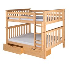 Santa Fe Mission Tall Bunk Bed with Attached Ladder and Under Bed Drawers