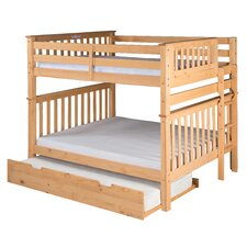 Santa Fe Mission Tall Bunk Bed with Bed End Ladder and Twin Size Under Bed Trundle