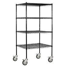 Wire 4 Shelf Shelving Unit Mobile