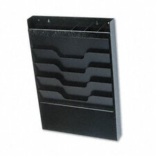 Wall File with Supplies Organizer, Letter, Four Pockets, Black