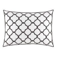 Pom Pom Geo Embroidered Cotton Throw Pillow
