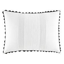 Pom Pom White Pleated Cotton Throw Pillow
