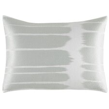 Painted Stripe Embroidered Ikat Cotton Throw Pillow
