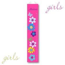 Personalized Floral Growth Chart on Canvas