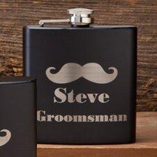 Matte Mustache Groomsmen Flask