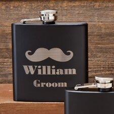 Matte Mustache Groom Flask