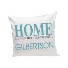 "Personalized Gift Family Name ""Home"" Cotton Throw Pillow"