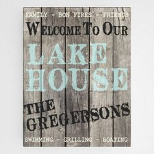 'Wood Lake House' Personalized Textual Art on Wrapped Canvas