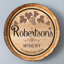 'Gift Wine Barrel' Personalized Textual Art on Canvas