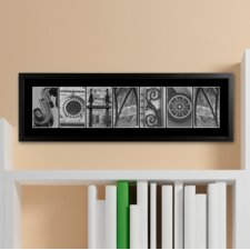 Personalized Gift Architectural Elements II Family Name Framed Photographic Print in Black