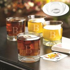 Personalized Gift Football Pub Lowball Old Fashioned Glass (Set of 4)