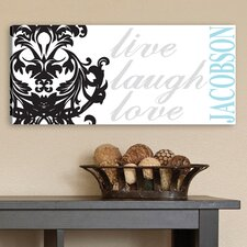 Personalized Gift Live, Laugh, Love Filigree Textual Art on Canvas