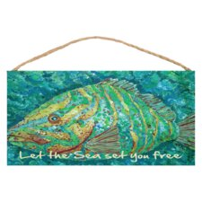 "Striped Grouper Wood Sign"" by Gerri Hyman Painting Print Plaque"