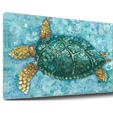 Sea Turtle Mounted by Gerri Hyman Painting Print on Canvas