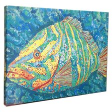 'Striped Grouper' by Gerri Hyman Painting Print on Wrapped Canvas