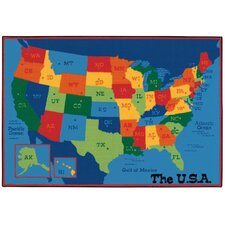 USA Map Kids Area Rug