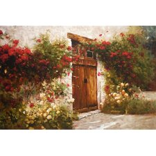 'Roses and Old Stone' by Ian Cook Painting Print on Wrapped Canvas