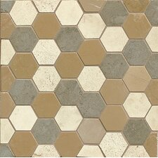 "2"" x 2"" Limestone Mosaic Tile in Brown"