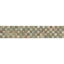 "10.25"" x 2"" Stone Mosaic Liner Tile in Amber Gold/Chinese Multicolor"