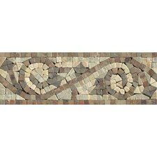 "12"" x 4"" Stone Mosaic Liner Mystic Swirl Tile in Amber Gold/Chinese Multicolor"