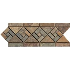 "12"" x 4.75"" Stone Mosaic Liner Tile in Rajah Multicolor"