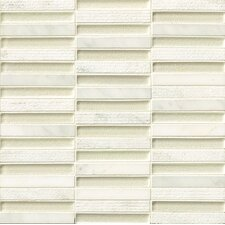 "Tessuto 0.5"" x 4"" Stone and Glass Mosaic Tile in White"