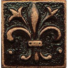 "Ambiance Insert Flor De Lis 1"" x 1"" Resin Tile in Venetian Bronze"