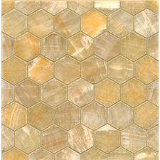 Onyx Hexagon Marble MosaicTile in Sweet Honey