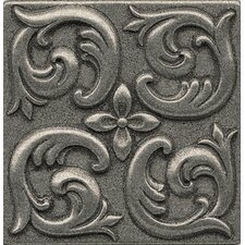 "Ambiance Insert Wave 4"" x 4"" Resin Tile in Pewter"