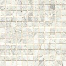 """1"""" x 1"""" Marble Mosaic Tile in White Carrara"""