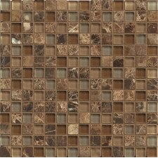 """Interlude 0.75"""" x 0.75"""" Stone and Glass MosaicTile in Duet"""