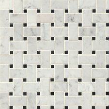 "Aurora Basket Weave 12"" x 12"" Marble Mosaic Tile in White Carrara and Black"