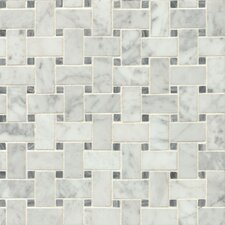 "Honed 12"" x 12"" Honed Marble Mosaic Tile in White & Gray"