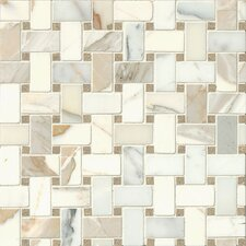 Hillcrest Basket Weave Honed Marble Mosaic Tile in Calacatta Oro and Seagrass