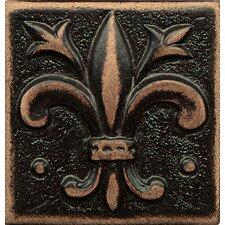 "Ambiance Insert Flor De Lis 2"" x 2"" Resin Tile in Venetian Bronze"