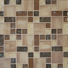 Ice Crackle Random Sized Glass Mosaic Tile in Brown