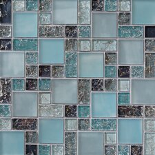 Ice Crackle Random Sized Glass Mosaic Tile in Blue