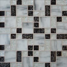 Ice Crackle Random Sized Glass Mosaic Tile in Black/Gray