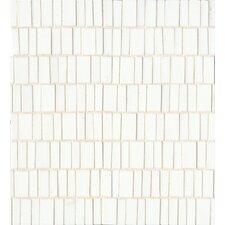 Retrospect Random Sized Glass Mosaic Tile in Palladium White
