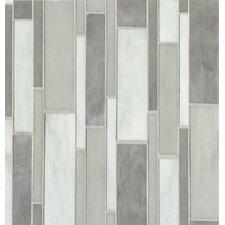Retrospect Random Sized Glass Mosaic Tile in Silver Mist