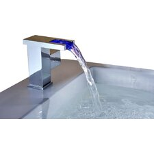 Single Handle Deck Mount LED Waterfall Bathroom Sink Faucet