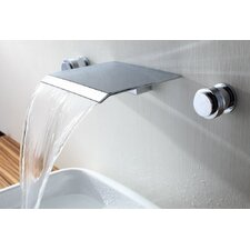 Double Handle Wall Mount Waterfall Bathroom Sink Faucet